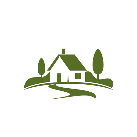Casa di campagna o icona domestica verde per l'agenzia immobiliare o il concetto della casa di ecologia. Vector il simbolo isolato della casa dell'azienda agricola nella foresta verde o nel parco dei boschi per la società di progettazione del paesaggio