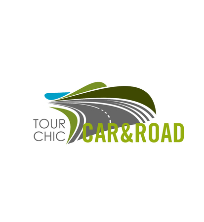Road travel or car journey trip icon for travel agency. Vector design template of highway road in green and blue sky horizon for holiday car tourism or vacations outdoor adventure.