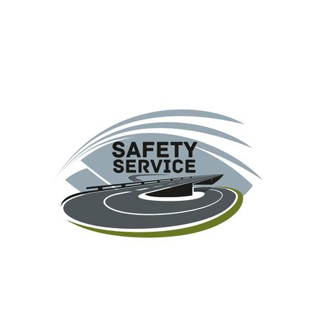 Verkeersveiligheid of snelweg bouwbedrijf pictogram ontwerpsjabloon. Vector geïsoleerd symbool van vervoerweg of autosnelweg met verkeerssteeg die voor het agentschap van de autoreisreis merken.