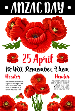 Anzac Day red poppy vector war memorial card