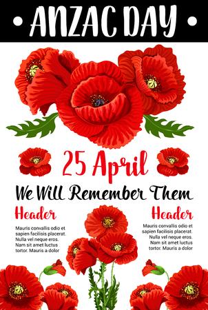 Anzac Day red poppy vector war memorial card
