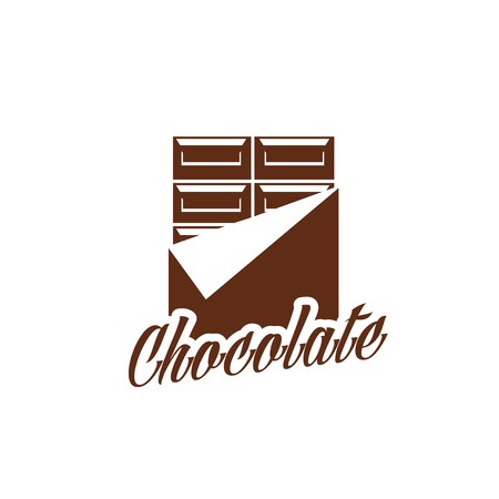 Chocolate bar candy comfit in wrapper icon, Vector chocolate product label design template for hand made choco sweets, patisserie or confectionery company and desserts packaging Illustration