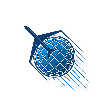 Airplane and blue world globe icon for aviation or air transportation and post mail logistics or delivery service and company. Vector isolated aircraft flying around earth with jets Illustration