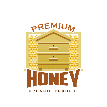 Honey organic premium product icon of hive and honeycomb for beekeeping farm or market. Vector isolated beehive for bee honey production or packaging label design template
