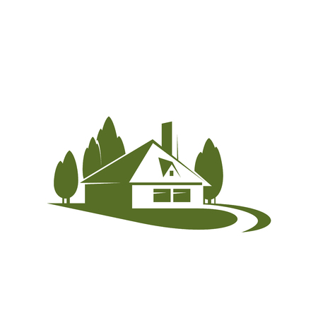 Eco village or green house real estate company or building and construction agency icon design template. Vector house in green forest trees for landscape designing or urban horticulture.