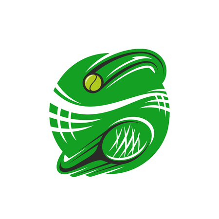Tennis sport club icon design template of green playing racket and yellow ball. Vector isolated badge for tennis fan club or sport team and championship tournament. Vettoriali
