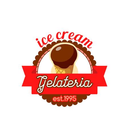 Gelateria ice cream in wafer cone vector icon Illustration
