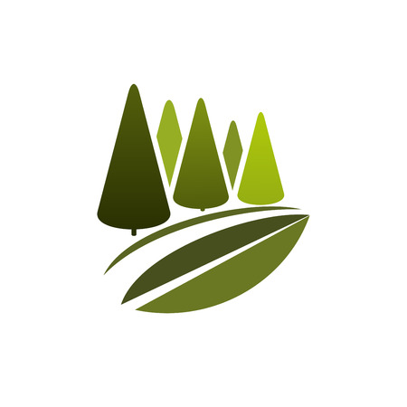 Green trees or eco nature forest vector icon