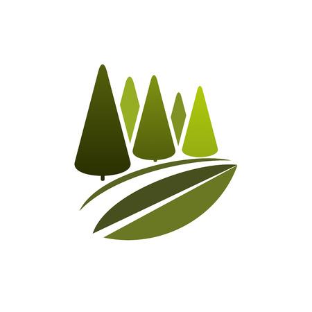 緑の木やエコ自然の森のベクトルアイコン