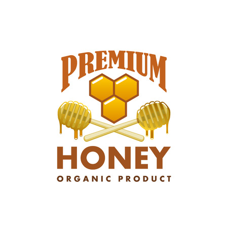 Honey product vector icon honeycomb dipper spoon