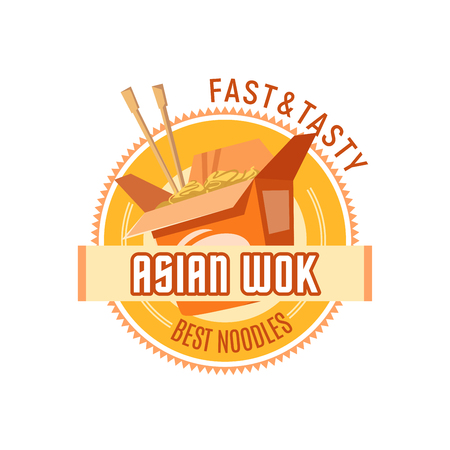 Asian noodles or Chinese wok cuisine vector icon