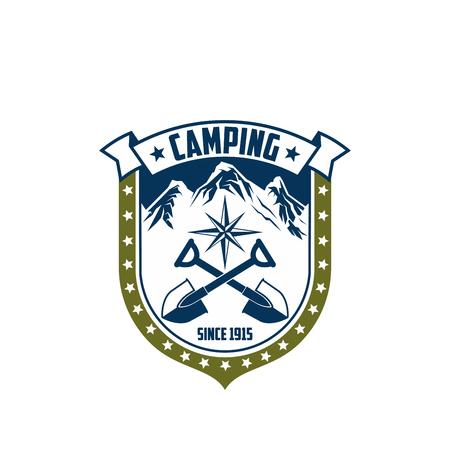 Mountain camping vector rock Alp compass icon Ilustração