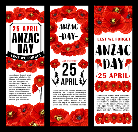 Anzac Day 25 April Australian remembrance day banners design of red poppy flowers and Lest We Forget ribbon. Vector Anzac Day symbols of Australia and New Zealand war and peace soldiers memory anniversary