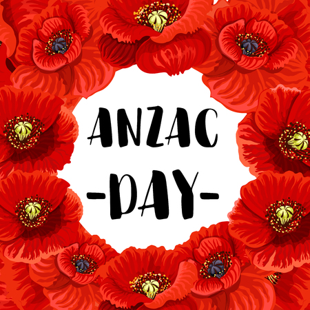 Anzac Day war memorial day red poppy vector poster