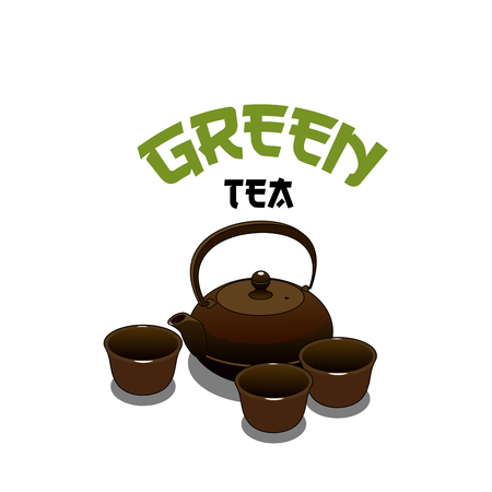 Green tea ceramic pot and cups icon for Japanese cuisine or sushi bar and restaurant menu design template. Vector isolated symbol of teapot and Japan or Chinese traditional mugs for tea or cafe Çizim