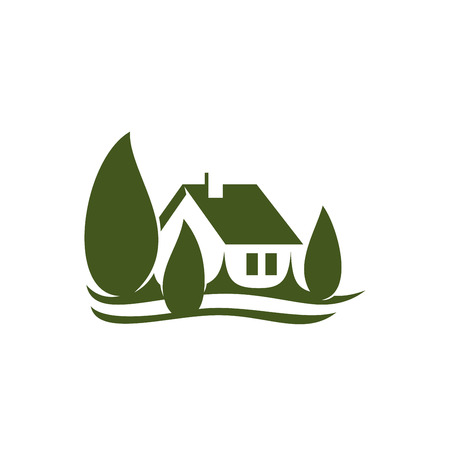 Eco house village green real estate vector icon