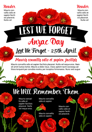 Anzac Day Lest We Forget 25 April vector poster