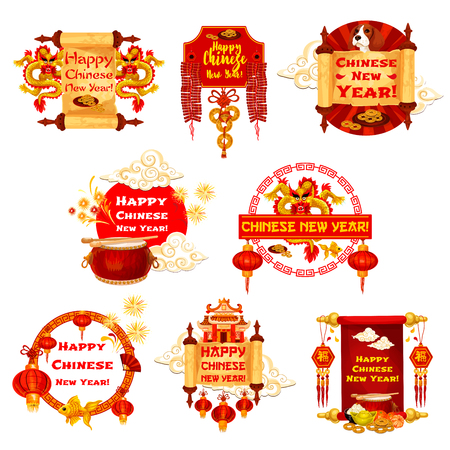 Chinese New Year vector traditional greeting icons