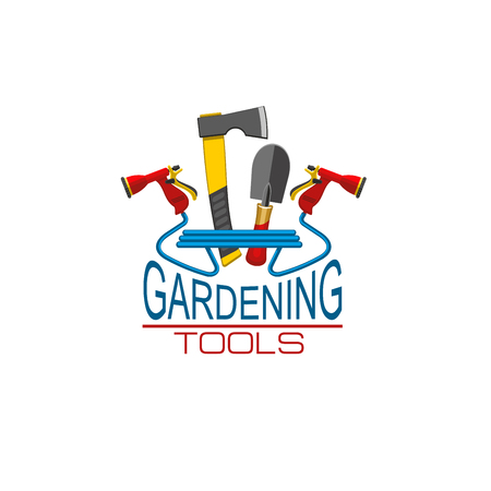 Vector icon of gardening tools for gardener shop