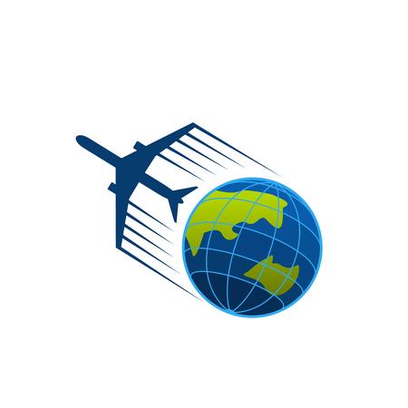 地球の周りを飛ぶ飛行機のベクトルアイコン  イラスト・ベクター素材