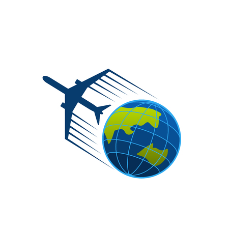 Vector icon of airplane flying around earth  イラスト・ベクター素材