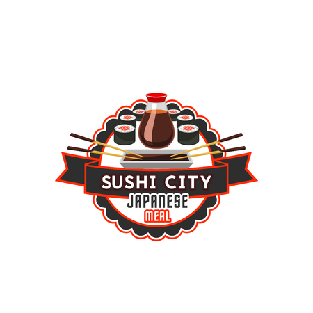 Vector sushi icon for Japanese cuisine restaurant