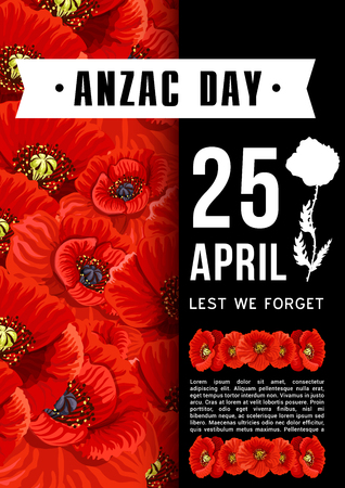 Anzac Day Australian memory red poppy vector card.