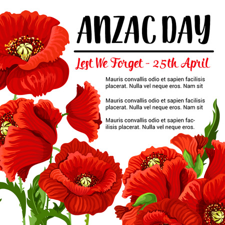 Anzac Day vector remembrance card red poppy design.