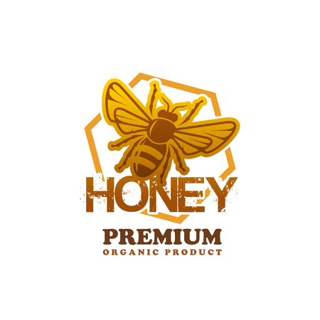Honey product bee vector premium product icon. Illustration
