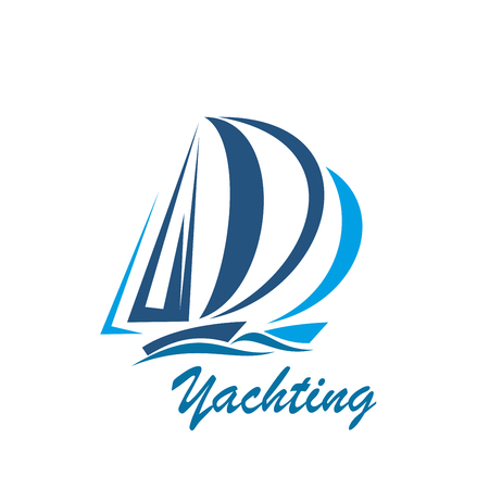 Yachting sport club or yacht travel vector icon