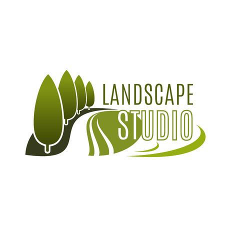 Green landscape design studio vector icon  イラスト・ベクター素材