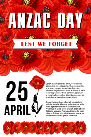 Anzac Day Lest We Forget red poppy vector poster