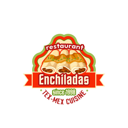 Enchiladas Mexican cuisine vector fast food icon