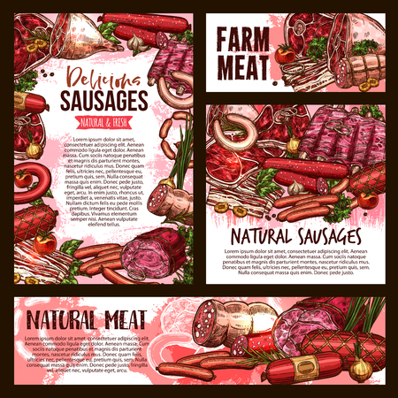 Fresh meat and sausages sketch poster and banner for butcher shop or gourmet farm product market. Vector pork bacon or tenderloin and beef steak, pepperoni or salami sausage, filet or lamb brisket. Ilustração