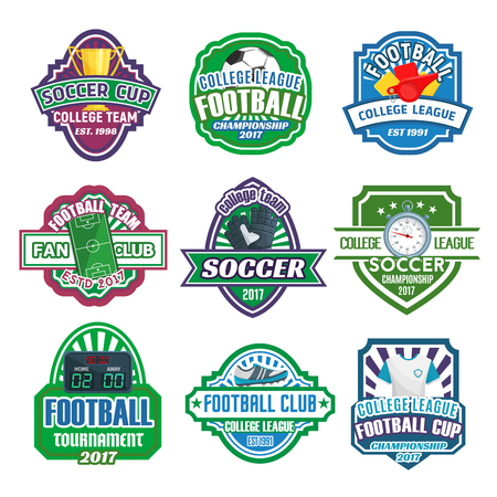 Soccer college league cup or football fan club championship icons set. Vector badges of soccer ball at arena stadium, victory cup and goal star on champion laurel wreath and crown for soccer team game Ilustracja