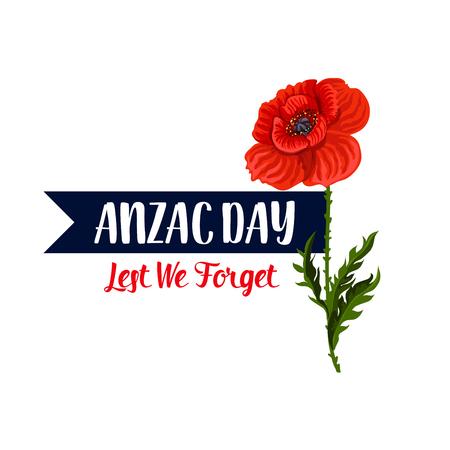 Anzac Day Lest We Forget greeting icon Ilustração