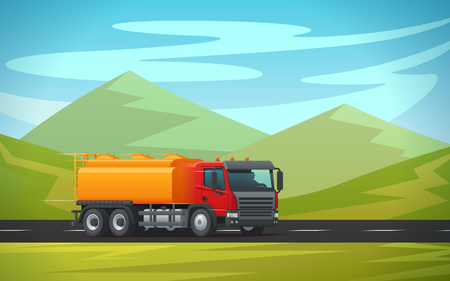 Tank truck or cistern trailer and tanker trailer transporting water, oil or petrol gas on green mountain nature landscape. Vector delivery or transportation load car and cargo shipment Ilustração