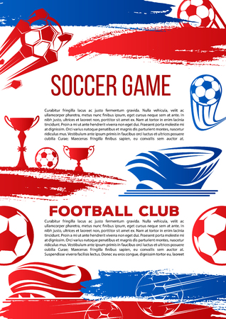 Soccer game championship or football club poster. Vector design of soccer ball on arena stadium, victory goal and champion winner cup for college league football tournament and sport fan club Ilustração