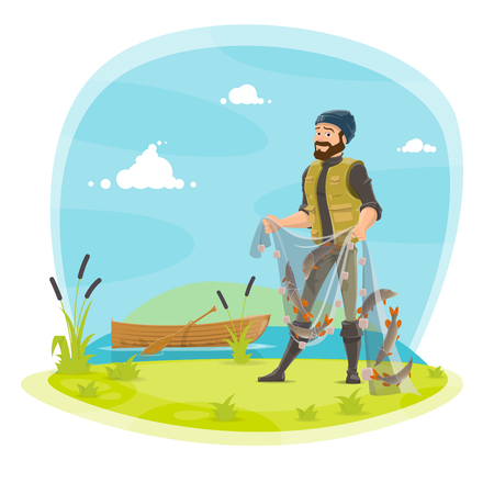 Fisherman on fishing with fish catch in net. Vector flat design of fisher man in rubber boots at lake or river and boat holding fish catch on rod and tackles with pike, crucian or trout Çizim