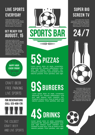 Soccer sports bar or football fan club beer pub menu template. Vector price for beer drink, fast food snacks and pizza or burgers for live football team league championship or football game tournament.