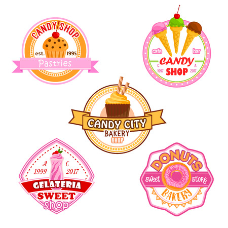 Candy shop or patisserie desserts icons of cakes, ice cream, berry and fruit cupcake, chocolate biscuit or pie and pastry tiramisu or brownie tart. Vector candies for bakery shop or cafeteria and cafe. Ilustração