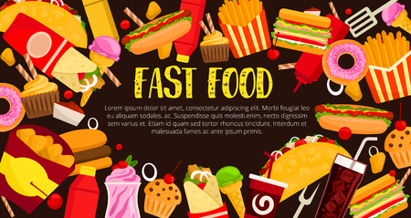 Fast food burgers, sandwiches and snacks poster template. Vector hot dog, cheeseburger or pizza and fries meals, donut or muffin and ice cream desserts combo, chicken grill nuggets and coffee or soda Illustration