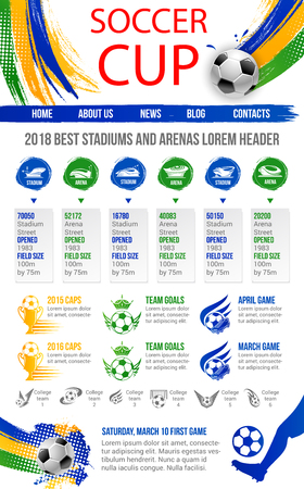 Soccer cup or football sport game website or landing page template design. Ilustracja