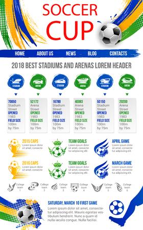 Soccer cup or football sport game website or landing page template design. Illustration