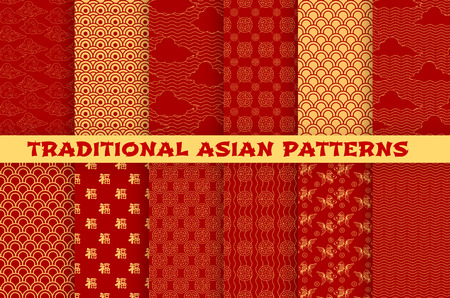 Asiatisches nahtloses Muster stellte mit orientalischer traditioneller Verzierung ein. Chinesisches und japanisches goldenes Muster der Hieroglyphe, der Wolke, des Goldfisches und der glücklichen Münze auf rotem Hintergrund für Tapeten- oder Textildesign