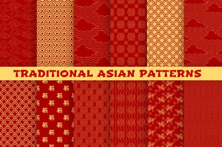 Patrón transparente asiático con adornos tradicionales orientales. Patrón dorado chino y japonés de jeroglíficos, nubes, peces dorados y monedas de la suerte sobre fondo rojo para papel tapiz o diseño textil