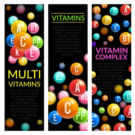 Multi vitamin complex pills vector banners