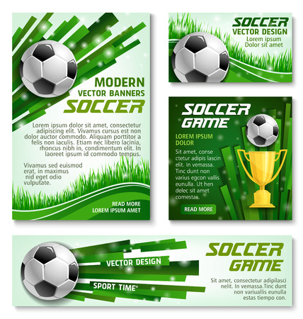 Soccer game modern banners or posters design template. Illustration