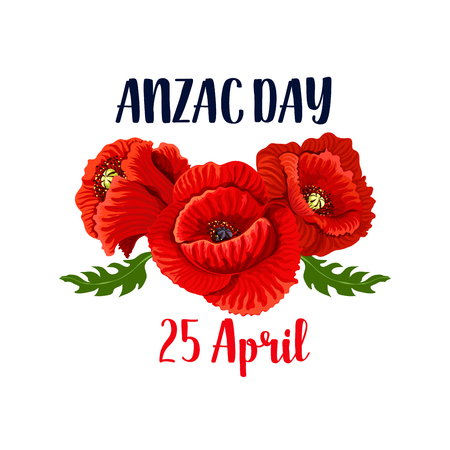 Anzac Day banner template with red poppy flowers icon design. Ilustração