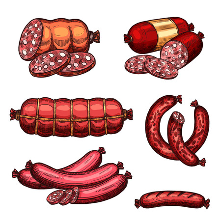 Sausages and meat delicatessen sketch icons of sketch set of sausage sorts salami, pepperoni and bunch of pork chorizo. Vector chipolata kielbasa and frankfurter bacon bratwurst for gastronomy shop Ilustracja